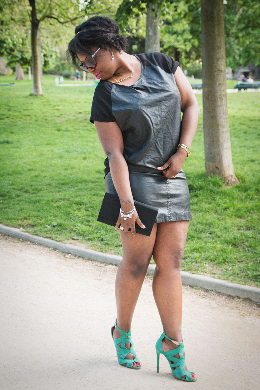 Black on Black & Turquoise Heels From Zara